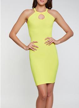 Soft Knit Keyhole Dress - 1094038349821