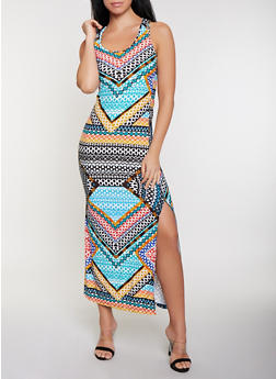 Mixed Aztec Print Racerback Tank Maxi Dress - 1094038349905