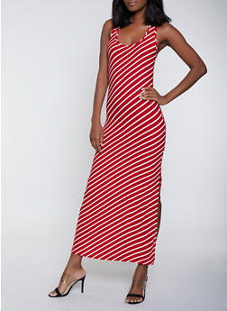 Diagonal Stripe Side Slit Maxi Dress - 1094038349910