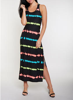 Neon Striped Racerback Tank Maxi Dress - 1094038349912