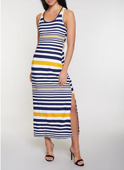 Contrast Stripe Racerback Maxi Tank Dress - 1094038349915