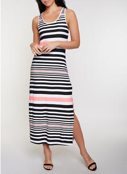 Contrast Stripe Racerback Maxi Tank Dress - 1094038349915