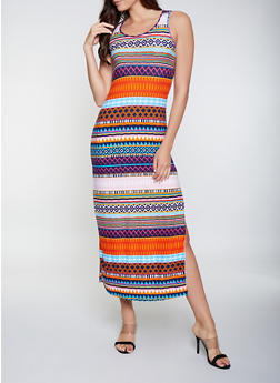 Printed Scoop Neck Maxi Dress - 1094038349919