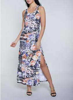 Magazine Print Soft Knit Tank Maxi Dress - 1094038349920