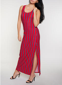Sleeveless Striped Tank Maxi Dress - 1094038349921