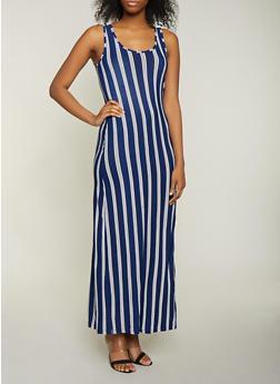 Striped Scoop Neck Tank Dress - 1094038349922
