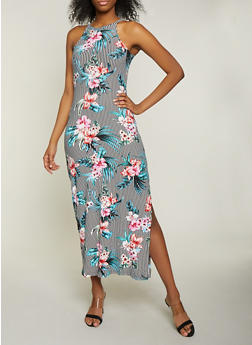Striped Floral High Neck Maxi Dress - 1094038349926