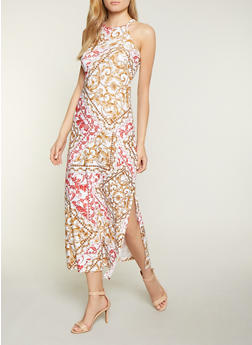 High Neck Printed Tank Dress - 1094038349927
