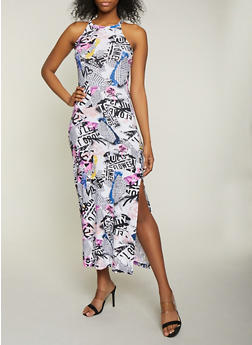 Magazine Print High Neck Tank Maxi Dress - 1094038349928