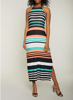 Striped Soft Knit Side Slit Maxi Dress - 1094038349929