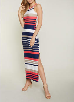 Striped Soft Knit Side Slit Maxi Dress - 1094038349929