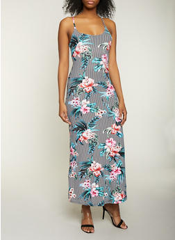 Striped Floral Cami Maxi Dress - 1094038349932