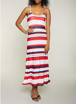 Striped Cami Maxi Dress - 1094038349933