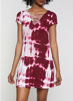 Tie Dye Caged T Shirt Dress - 1094038349978
