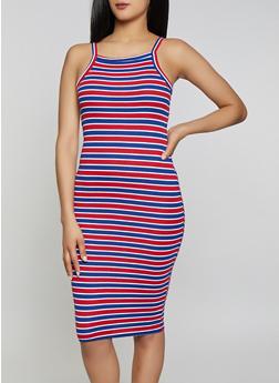 Striped Rib Knit Cami Dress   1094038349985 - 1094038349985