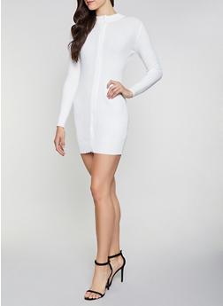 Rib Knit Zip Front Sweater Dress - 1094051060060