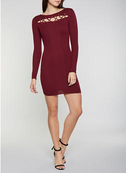 Lace Up Cut Out Sweater Dress - 1094051060061