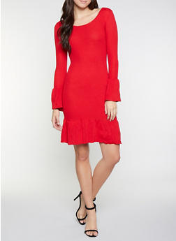 Bell Sleeve Sweater Dress - 1094051060062