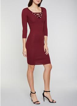 Lace Up Sweater Dress - 1094051060064