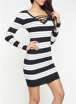 Striped Lace Up Sweater Dress - 1094051060070