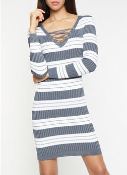 Striped Lace Up Sweater Dress - 1094051060070