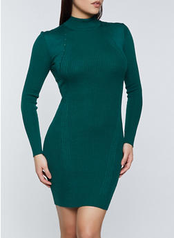Mock Neck Ribbed Knit Sweater Dress - 1094051060092