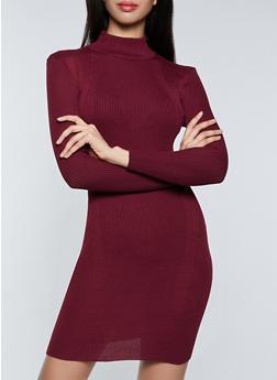 Mock Neck Ribbed Knit Sweater Dress - 1094051060092