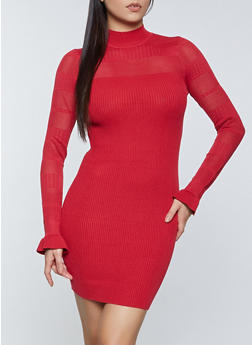 Pointelle Detail Sweater Dress - 1094051060093