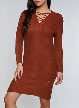 Lace Up Sweater Dress - 1094051060094