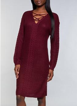 Lace Up Sweater Dress - 1094051060094