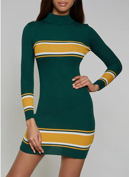Striped Detail Sweater Dress - 1094051060098