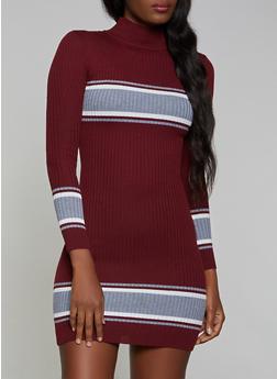 Striped Detail Sweater Dress - 1094051060098