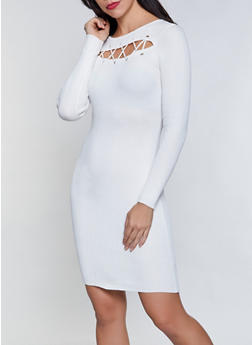 Lace Up Cut Out Sweater Dress - 1094051060102
