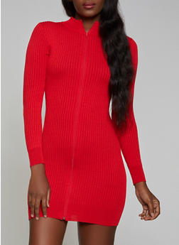 Ribbed Zip Front Sweater Dress - 1094051060103