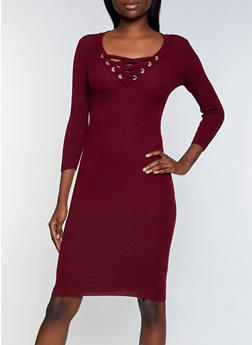 Lace Up Mid Length Sweater Dress - 1094051060104