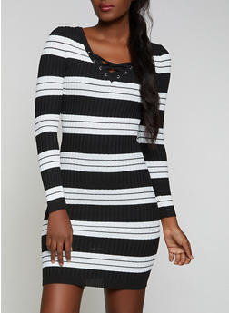 Striped Lace Up Sweater Dress - 1094051060106