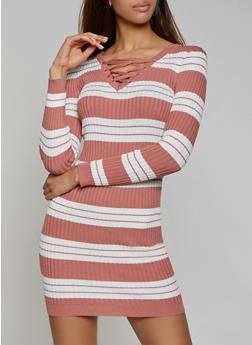 Striped Lace Up Sweater Dress - 1094051060106