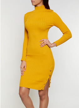 Mock Neck Button Sweater Dress - 1094051060107