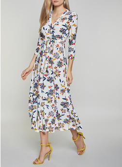 Tie Waist Floral Faux Wrap Maxi Dress - 1094051061955