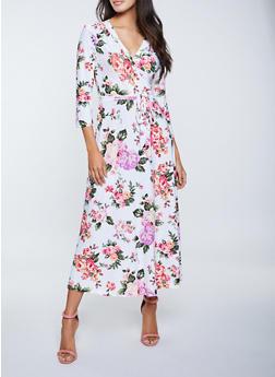 Faux Wrap Floral Tie Waist Maxi Dress - 1094051062495