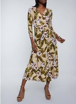 Tropical Print Faux Wrap Maxi Dress - 1094051063495