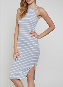 Striped High Neck Tank Dress - 1094051063941