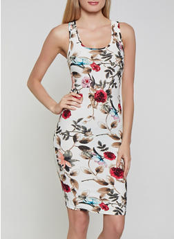 Floral Soft Knit Midi Tank Dress - 1094051063947