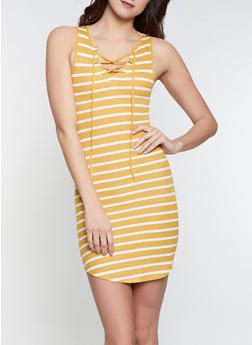 Striped Lace Up Tank Dress - 1094051063953