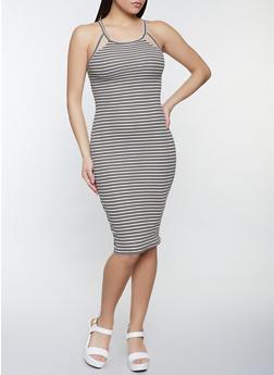 Striped Rib Knit Double Keyhole Dress - 1094051064345