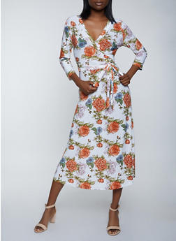 Rose Print Faux Wrap Belted Dress - 1094051064495