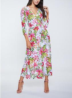 Floral Faux Wrap Tie Waist Maxi Dress - 1094051065495