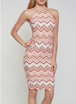 Printed High Neck Bodycon Dress - 1094051065946