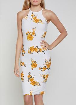 Floral High Neck Soft Knit Bodycon Dress - 1094051066946