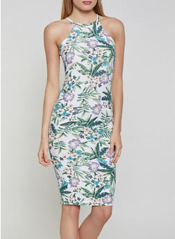 Tropical Floral Bodycon Dress - 1094051067946